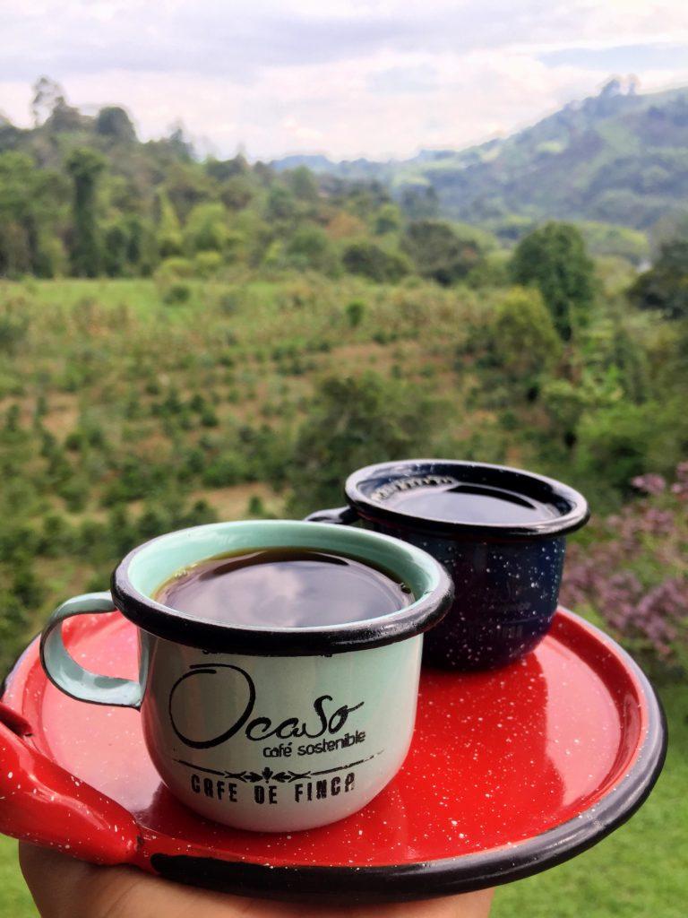 Frisch gebrühter Arabica Kaffee in Kolumbien