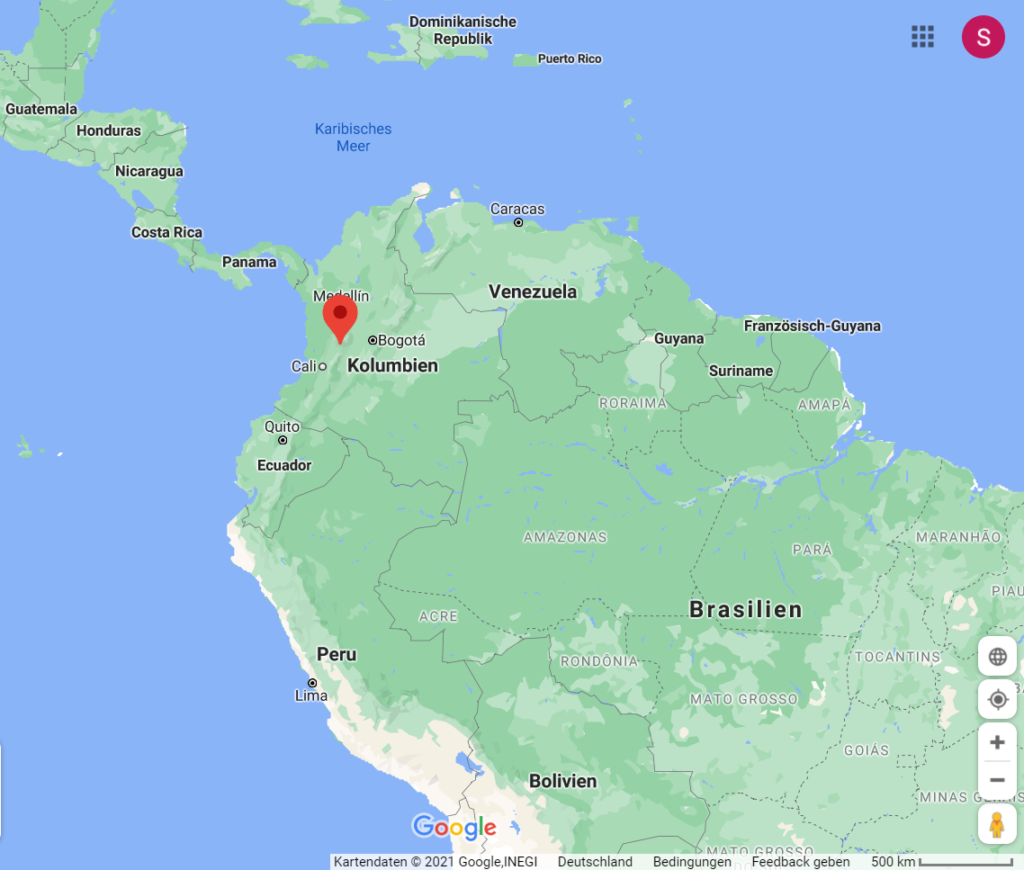 Landkarte Südamerika mit Kolumbien
